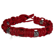 Dark red leather bracelet or anklet with red glass and pewter beads