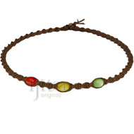 Light brown twisted Hemp, Red, Yellow and Green resin beads surfer style choker necklace