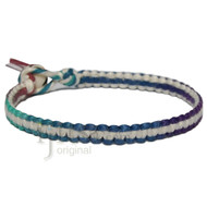 Muted rainbow and white flat hemp surfer bracelet or anklet