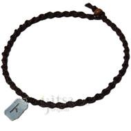 Dark brown twisted hemp choker necklace with Illumination pewter charm