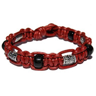 Moroccan red leather bracelet or anklet with black glass and pewter flower beads
