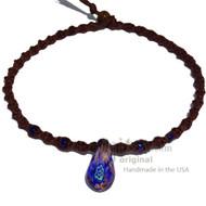 Dark Blue/White Flower Glass Teardrop Pendant Twisted Hemp Surfer Choker Necklace