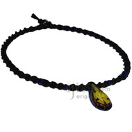 Blue/Yellow Flower Glass Pendant Twisted Hemp Surfer Choker Necklace