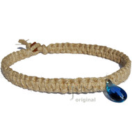 Thick Natural Wide Flat Hemp Necklace with Blue and light Blue Glass Mushroom
