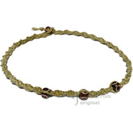 Olive Rainbow Twisted Hemp Brown Bone Beads #2 Necklace