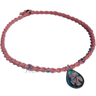Rose pink twisted hemp necklace turquoise/pink flower teardrop glass pendant