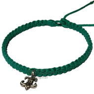 Midory Wide Flat Hemp Necklace with Fleur-de-lis Pewter Pendant