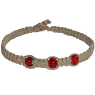 Natural thick wide flat hemp necklace with large red glass beads