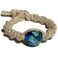 Natural wide twisted hemp bracelet or anklet with large blue with white flowers art glass bead