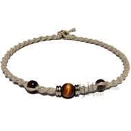 Natural twisted hemp necklace with yellow tiger eye gem bead