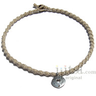 Natural twisted hemp necklace with antiqued pewter charm Love Life - Live Life, Folow your heart