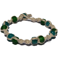 Natural twisted hemp bracelet or anklet with opaque matte green and aqua glass beads
