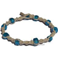 Natural twisted hemp bracelet or anklet with transparent light blue glass beads