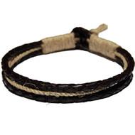 Braided Black leather & Natural hemp bracelet or anklet