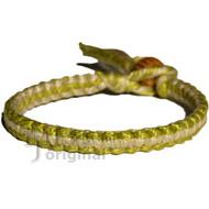 Pistachio and natural flat cotton bracelet or anklet