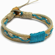 Tan Leather Turquoise Hemp Bracelet or Anklet