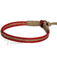 Red leather & hemp racelet or anklet