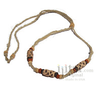 Hemp & Ceramic Spots beads Tribal Style Choker/Necklace
