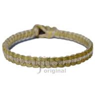 Olive green and natural flat hemp surfer bracelet or anklet