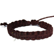 Dark Brown Hemp Flat Adjustable Bracelet or Anklet