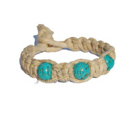 Natural thick flat hemp bracelet or anklet with three turquoise howlite beads