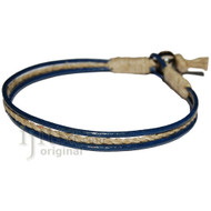 Dark blue leather & hemp bracelet or anklet