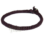Dark burgundy hemp Caterpillar bracelet or anklet