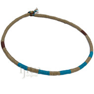 Leather necklace wrapped with natural, turquoise and brown hemp