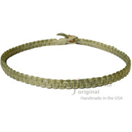 Olive Rainbow Wide Flat Hemp Surfer Choker Necklace