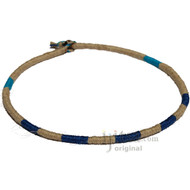 Leather Necklace wrapped with Natural, Dark Blue and Turquoise hemp