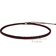 Burgundy and Licorice Flat Hemp Surfer Necklace