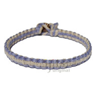 Periwinkle and Natural flat Hemp Surfer Bracelet or Anklet