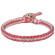 Sorbet  and Pearl flat hemp bracelet or anklet