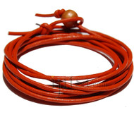 2mm orange leather wrap bracelet