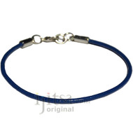 2mm dark blue leather bracelet or anklet, metal clasp