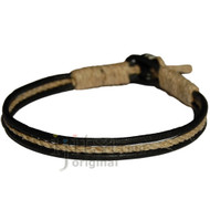 Round Black matte leather & hemp bracelet or anklet