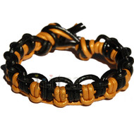 Black and gold interlocked leather bracelet or anklet