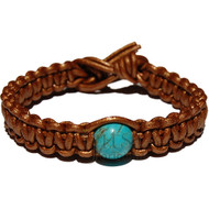 Coper flat leather bracelet or anklet with turquoise howlite bead