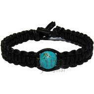 Black matte flat leather bracelet or anklet with turquoise howlite bead