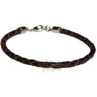 4mm dark brown braided leather bracelet or anklet metal clasp