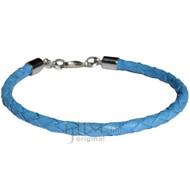 4mm sky blue braided leather bracelet or anklet metal clasp