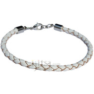 4mm white braided leather bracelet or anklet metal clasp