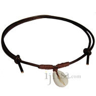 Dark brown leather, brown hemp  Cowry shell adjustable necklace