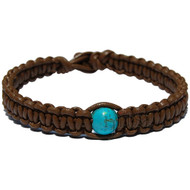 Light brown flat leather bracelet or anklet with turquoise howlite bead