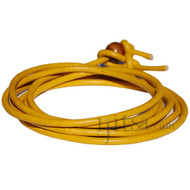 3mm Yellow leather adjustable surf wrap bracelet