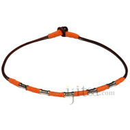 Brown leather necklace with Orange hemp and metal beads