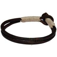 Dark brown double leather & natural hemp bracelet or anklet
