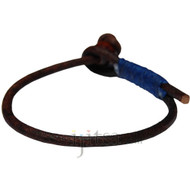3mm dark brown single leather dark blue hemp bracelet or anklet