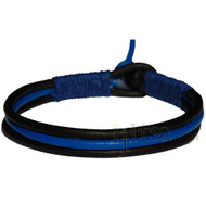 3-Strand black and light blue leather with dark blue hemp bracelet or anklet