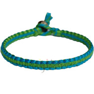 Turquoise and algea green flat cotton bracelet or anklet